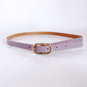 Thin Purple Belt | Tiny Oval Buckle | Small - Medium | Simple Skinny Width Dress Accessory | Faux Leather | Retro  | Adjustable