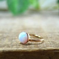 Tiny Hoop Earring Gemstone Fire Opal White Gold Single