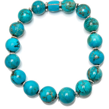 Large Turquoise Bead with Diamonds Necklace