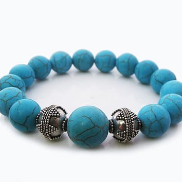 Turquoise and Sterling Silver Bali Beads Bracelet, Turquoise Gemstones and 925 Sterling Silver Granulation Beads Bracelet