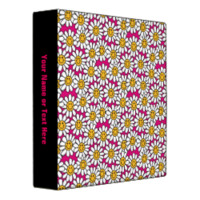 Smiley Daisy Flowers Pattern Pink Yellow Vinyl Binder