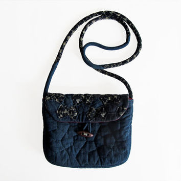 Hand quilted bag, small crossbody bag, Japanese purse, indigo messenger bag