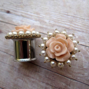 "One of a Kind Pair of Peach Flower & Pearl Plugs - Formal Gauges - Bridal - Wedding - 00g, 7/16"", 1/2"", 9/16"" (10mm, 11mm, 12mm, 14mm, 16mm)"