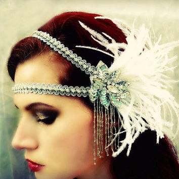 Lula - Art Deco Silver Crystal Rhinestone Ostrich Feather Headdress - Flapper Headband  - Made to Order