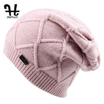 DCCK1IN FURTALK Wool Cashmere Autumn Winter Women Hat Knit Skullies Beanies Hats for Girls Female