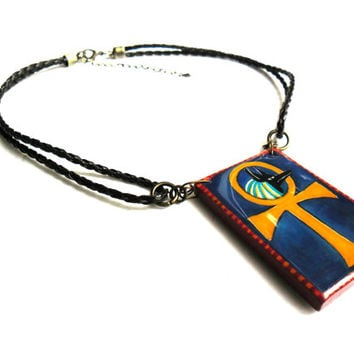 Anubis, Egyptian Canine God of the Dead Amulet, Ankh Hand Painted Infinity Egyptian Necklace, Egyptian Jewelry, Ancient Egypt Pendant
