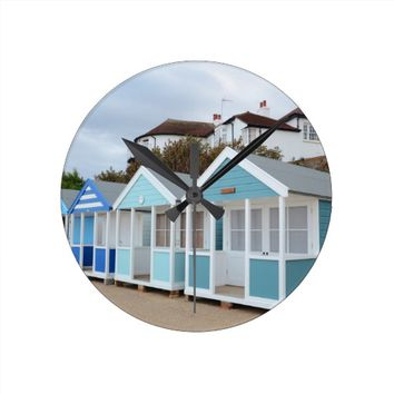 Beach Huts At Southwold Round Clock