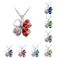 Princess Ice Platinum-plated Lucky 4-heart Leaf Clover Crystal Pendant Necklace