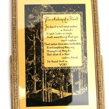 """Vintage Reverse Painting on Glass """" The Making of  a Friend"""" 1950s New in BOX"""