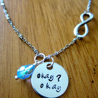 "The Fault in our Stars Inspired ""Okay"" Necklace. Hazel and Augustus Infinity symbol. Silver colored with a Swarovski crystal."