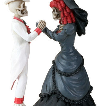 Gothic Couple Holding Hands Skeleton Wedding Cake Topper 5.5H