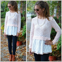 Meet Me In The Middleton Peach Lace Sweater