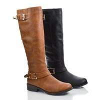 Jagger17 Round Toe Mid Calf Buckled Zip Up Riding Boots