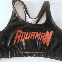 Aquaman Metallic Sports Bra Cheerleading, Yoga, Running, Working Out