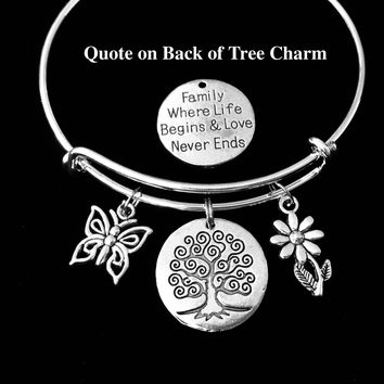 Family Tree of Life Charm Bracelet Silver Expandable Adjustable Bangle One Size Fits All Gift Mom Jewelry