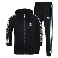 Adidas Men Cardigan Jacket Coat Pants Trousers Set Two-Piece-2