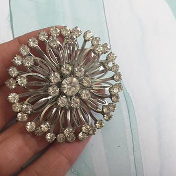 Ice Colored Rhinestone Brooch with silver toned metal - Clear Round Rhinestone Pin w Silver Toned Metal - Wedding Jewelry - Bridal Jewelry