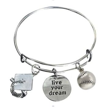 Softball Graduation Live Your Dream Bangle Bracelet