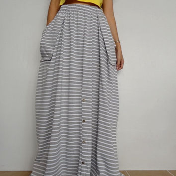 Women Convertible Long Skirt Or Pants, Casual Wide Legs,Soft gray stripe In Cotton Blend  (Skirt WS-2).