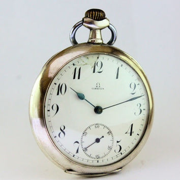 Vintage Silver  Omega Pocket Watch Antique Swiss Half Hunter Case