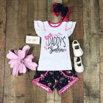 RTS Outfits For Girls Daddy's Sunshine Pink Pom-pom Short Set D5