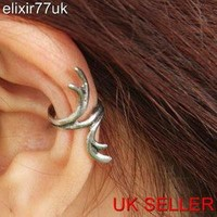 UK NEW SILVER DEER HORN EAR CUFF UPPER HELIX CARILAGE CLIP-ON EARRING EMO HOT UK