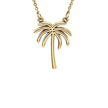 Polished Palm Tree Necklace in 14k Yellow Gold, 16 Inch