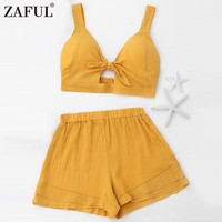 ZAFUL Solid Bow Knot Elastic Tank Top Shorts Women 'S Set Casual Beach V Neck Strap Cropped Top High Waist Loose Mini Shorts 2pc