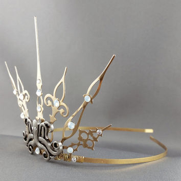 Steampunk Ursula Gothique - GoldTiara Gold Crown Steampunk Tiara Steampunk Crown Octopus Tiara Octopus Crown Mermaid Tiara Mermaid Crown