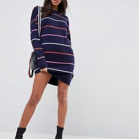 ASOS Knitted Oversized Crew Neck Dress In Bright stripe at asos.com