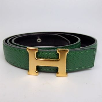 Authentic HERMES Mini stance stance H buckle round Z stamp Belt Leather[Used]
