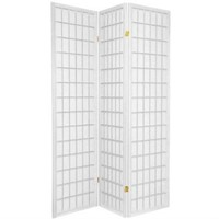 Japanese Asian Style 3-Panel Room Divider Shoji Screen in White