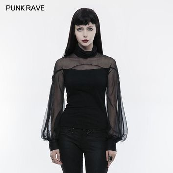 PUNK RAVE 2018 New Arrivals Women T-Shirt Punk Gothic Imitation Silk Crepe Ribbon Dressing Perspective Lantern Sleeve T-shirt