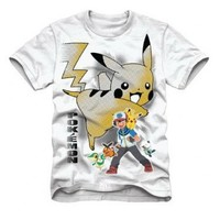 Pokemon Black  White Ash and Pikachu Adult T-Shirt White