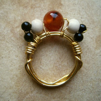 Wire Wrapped Ring Ancient Egyptian Inspired Wood & by PiggleAndPop