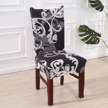 Dreamworld Elastic Chair Cover for Computer/dining/kitchen/office Black White Printed Chair Covers Spandex Seat Cover Wedding