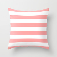 Coral Pink Stripe Horizontal Throw Pillow by BeautifulHomes   Society6