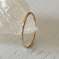 14kt Yellow Gold Single Stackable Ring // Hammered Solid Layering Ring in Gold // made to order