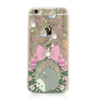 Totoro Pink Bow Chu Chibi Floral Flowers iPhone 6s 6 Plus Clear Soft Case
