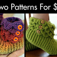 Crochet PATTERN Two Boot Patterns For 8 - Permission to Sell Finished Items