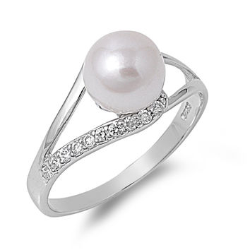 925 Sterling Silver CZ Cultured Pearl My Eyes Ring 8MM