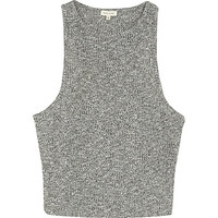 River Island Womens Grey marl ribbed crop top
