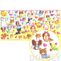 Kawaii Pet Themed Kitty Cat and Dog Shaped Puffy Stickers from Japan | Cute Animal Themed Scrapbook Decorating Supplies