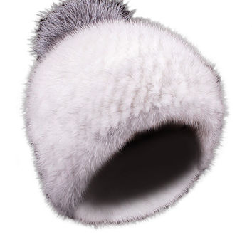 Mink Limited Edition Full Fur Hat White Silver Pom Pom