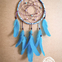 Dream Catcher - Pastel Stars - With Turquoise Feathers and Colorful Beads - Home Decor, Nursery Mobile