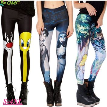 Sylvester & Tweety Mysteries Legging Push Up Alice & Cheshire Cat Pencil Trousers Elastic High Waist Women Running Tights Skinny