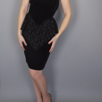 Vintage Sexy 80s Black Velvet Peplum Wiggle Dress Short Strapless Party Cocktail Dress Petite Small Size 3 Prom Bridesmaid Milanzo