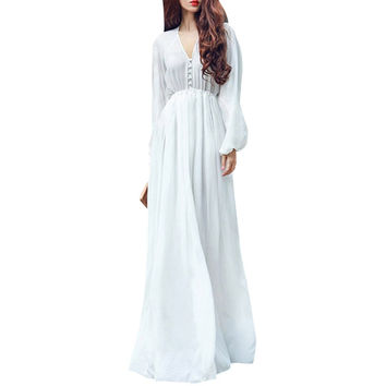 White Boho Evening Party Long Maxi Beach Dress