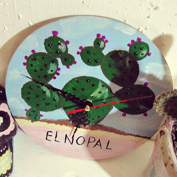 El Nopal Wall Clock - Hand Painted Cactus Clock - Mexican Lottery Art - Wood Clock - Boho Wall Decor - Mexican Tribal Art - Ready to Ship