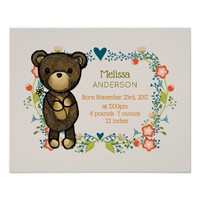 Cute Bear, Yellow Flower & Floral Wreath Baby Poster